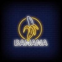 vector de texto de estilo de letreros de neón de plátano