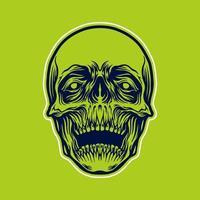 Detailed Skull Head Illustration vector