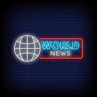 World News Neon Signs Style Text Vector
