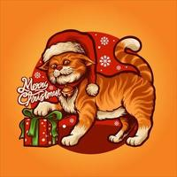 Cartoon Cute cat with Gift Vector Illustration