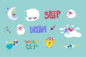 Wake up, sleep stitched frame stickers set vector