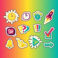 Time management stitched frame stickers set vector