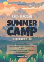 Summer camp poster template vector