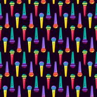 Colorido micrófono de mano musical de patrones sin fisuras vector