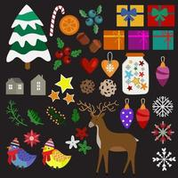 christmas elements in flat style vector