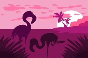 Landscape with flamingo silhouette flat vector illustration