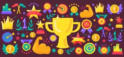Sport achievement cartoon vector icon set