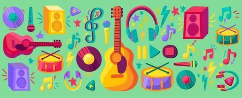 Conjunto de cliparts planos de banner de concierto musical vector
