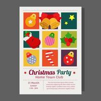 christmas party poster grid style with flat elements vector
