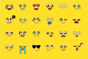 divertido y lindo juego de pegatinas emoji vector
