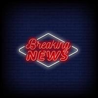 Breaking News Neon Signs Style Text Vector