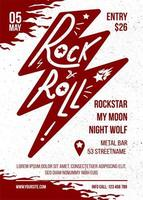 Rock and Roll Red White Vector Music Banner Design