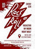diseño de banner de música rock and roll rojo blanco vector