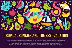 Summer vacation flat banner template vector
