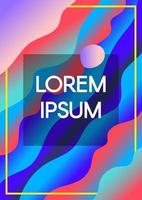Abstract fluid waves with frame borders gradient background vector