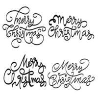 feliz navidad letras texto conjunto vector