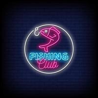 Fishing Club Neon Signs Style Text Vector