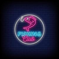 club de pesca letreros de neón estilo texto vector
