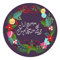 merry christmas winter wreath decoration vector