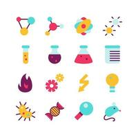 Science research flat icon set vector