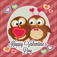 happy valentine's day card with bird couple vector