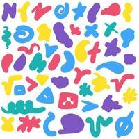 pinceladas de color conjunto dibujado a mano