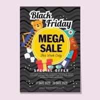 viernes negro compras mega ventas en estilo plano