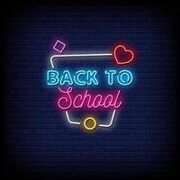 vector de texto de estilo de letreros de neón de regreso a la escuela