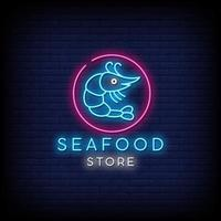Seafood Store Neon Signs Style Text Vector