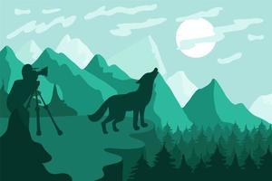 Wildlife, nature photographer flat vector illustration