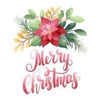 feliz navidad estilo acuarela poinsettia vector