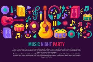 Musical festival invitation vector template