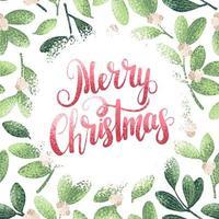 feliz navidad tarjeta de estilo acuarela vector