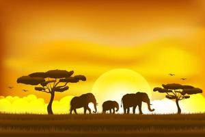 Paper art and digital craft style for world elephant day vector