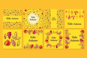 Hello autumn social media banner templates set