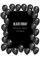 Black Friday with shiny balloons on square frame vector