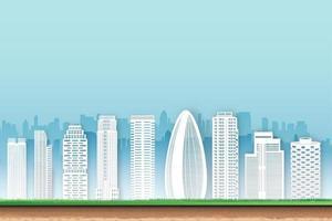 Paper cut design of cityscape buildings vector