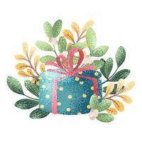 regalo y ramas en estilo acuarela.