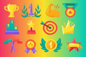 Awards flat illustrations set vector