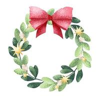 Christmas Wreath with bow in watercolor style