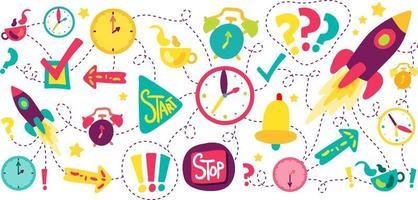 Time management dash line illustrations set vector