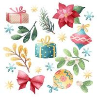 Christmas holiday elements in watercolor style vector