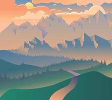 Morning Landscape Nature Forest Camping Banner vector