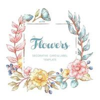 Watercolor Style Floral Frame Template vector