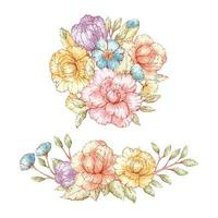 Watercolor Style Vintage Floral Bouquets vector
