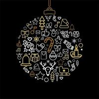 Bauble silhouette with Xmas holiday linear icons vector