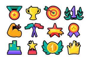 Awards flat outline illustrations set vector