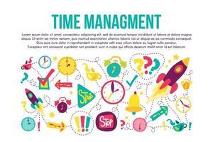 conjunto de ilustraciones planas de marco cosido de gestión del tiempo vector
