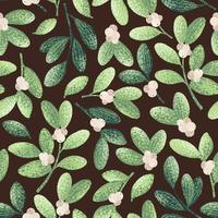 Watercolor Style Chrstmas Mistletoe Pattern vector