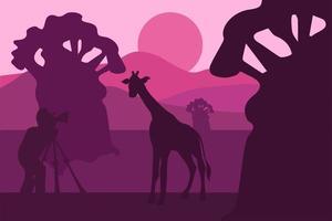 Wildlife, nature photographer vector illustration